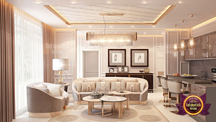Luxurious Living Room Design:   by Luxury Antonovich Design