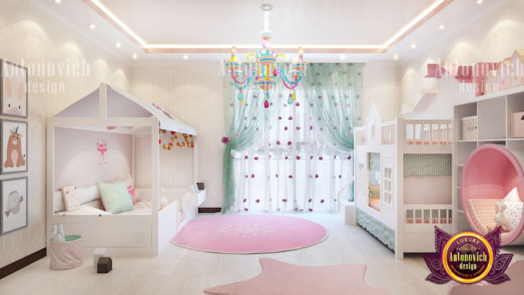 Girl's Bedroom with Dainty Details:   by Luxury Antonovich Design