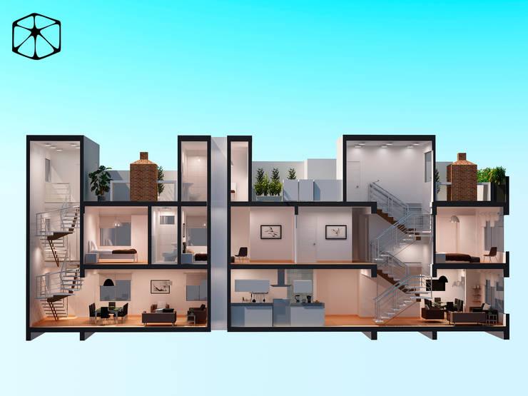TRIPLEX - MULTIFAMILIAR STELLA: Casas multifamiliares de estilo  por STUDIO ZINKIN