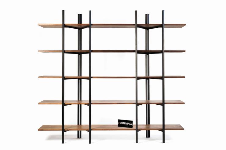 Walnut Folding Bookshelf : FURNIMASS (퍼니매스)의  거실,