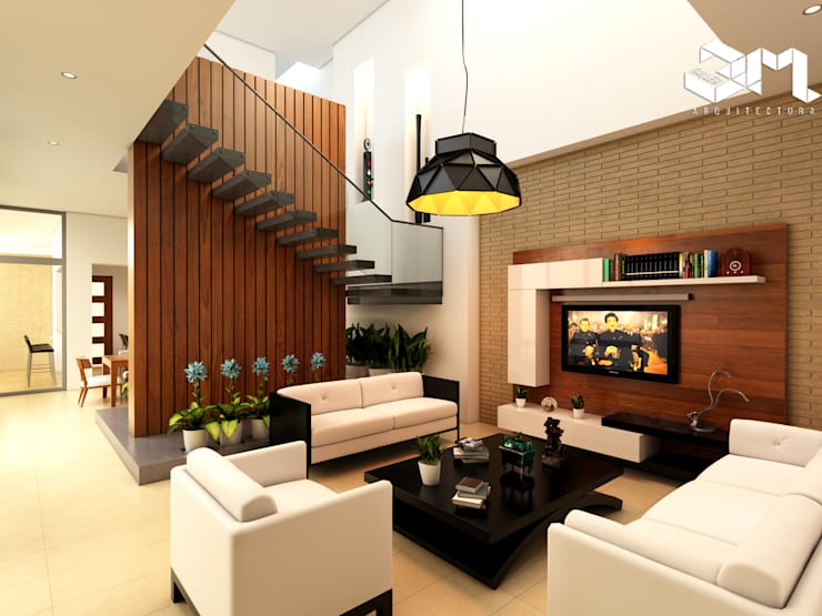 Living room by Taller 3M Arquitectura & Construcción, Eclectic Plywood