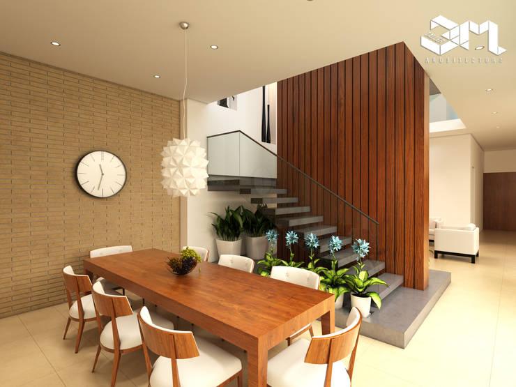 Dining room by Taller 3M Arquitectura & Construcción, Eclectic Bricks
