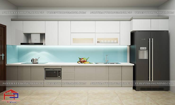 Ảnh thiết kế 3d tủ bếp laminate hình chữ I nhà anh Linh ở Thái Nguyên:  Kitchen by Nội thất Hpro