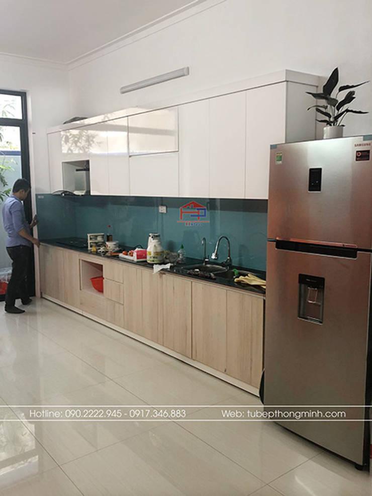 Hoàn thành tủ bếp laminate cho nhà anh Linh ở Thái Nguyên:  Kitchen by Nội thất Hpro