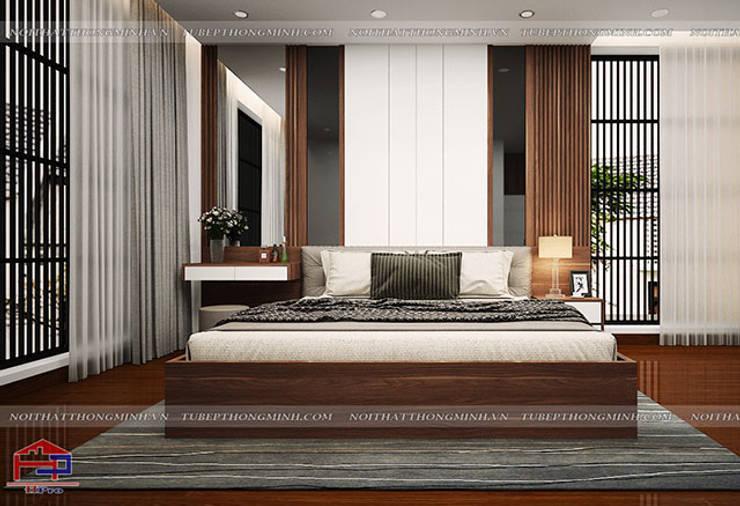 Ý tưởng thiết kế nội thất phòng ngủ master gỗ công nghiệp An Cường nhà anh Phương ở Thanh Hóa:  Bedroom by Nội thất Hpro