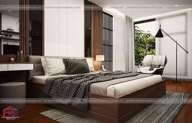 Ý tưởng thiết kế nội thất phòng ngủ gỗ công nghiệp An Cường nhà anh Phương ở Thanh Hóa - view 2:  Bedroom by Nội thất Hpro