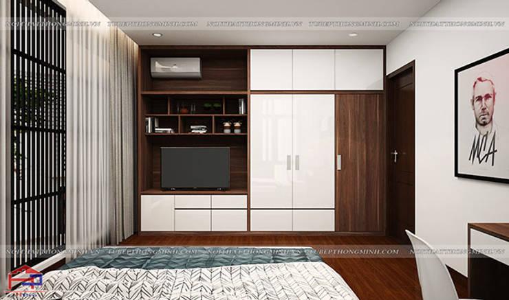 Thiết kế nội thất phòng ngủ của bé - Thiết kế tủ quần áo kết hợp kệ tivi:  Bedroom by Nội thất Hpro