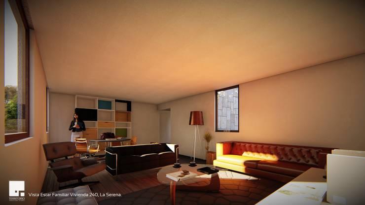 Diseño de casa Prototipo 240 en La Serena: Livings de estilo  por Territorio Arquitectura y Construccion - La Serena