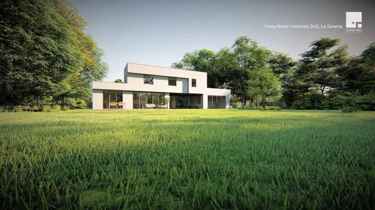 Diseño de casa Prototipo 240 en La Serena: Casas unifamiliares de estilo  por Territorio Arquitectura y Construccion - La Serena
