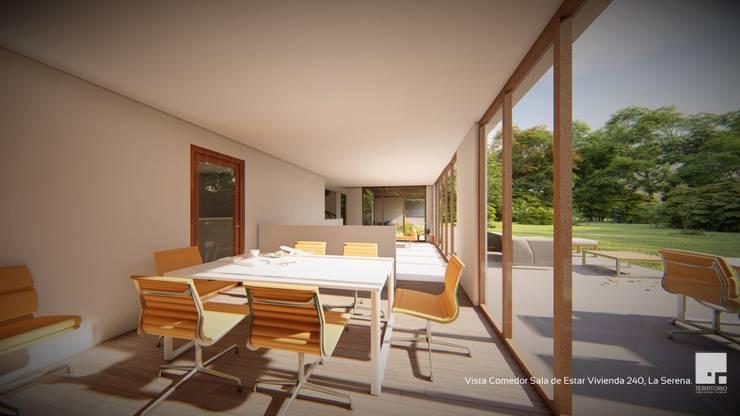 Diseño de casa Prototipo 240 en La Serena: Comedores de estilo  por Territorio Arquitectura y Construccion - La Serena