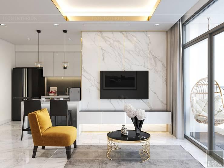 Thiết kế nội thất hiện đại tại căn hộ Landmark 4 – Khu đô thị Vinhomes Central Park:  Phòng khách by ICON INTERIOR