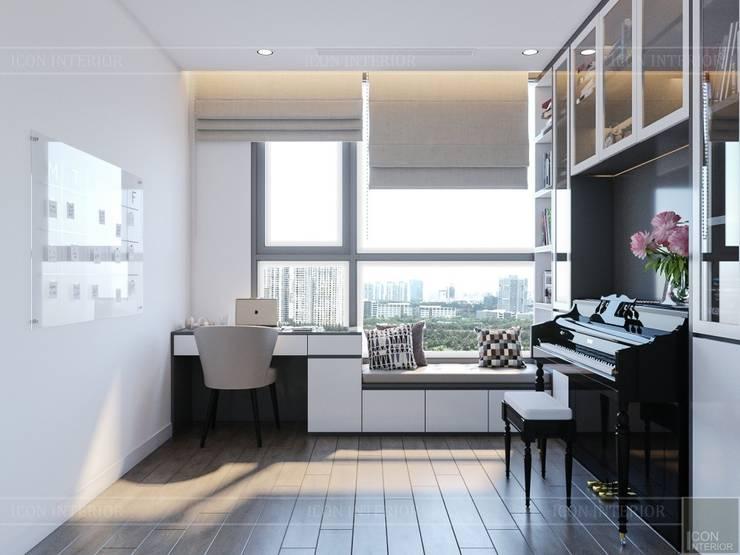 Thiết kế nội thất hiện đại tại căn hộ Landmark 4 – Khu đô thị Vinhomes Central Park:  Phòng học/Văn phòng by ICON INTERIOR