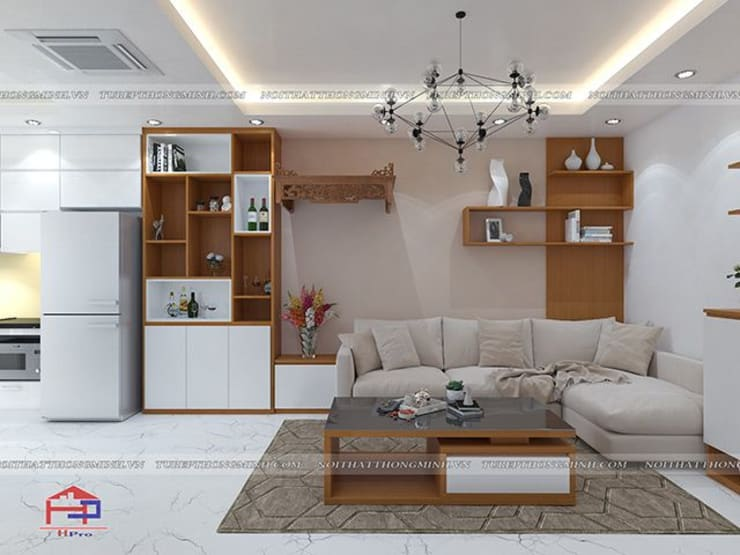 Ảnh thiết kế 3D nội thất phòng khách gỗ công nghiệp An Cường nhà anh Mai ở Việt Trì:  Living room by Nội thất Hpro
