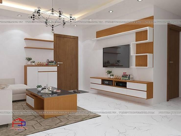 Ảnh thiết kế 3D nội thất phòng khách gỗ công nghiệp An Cường nhà anh Mai ở Việt Trì - view 2:  Living room by Nội thất Hpro