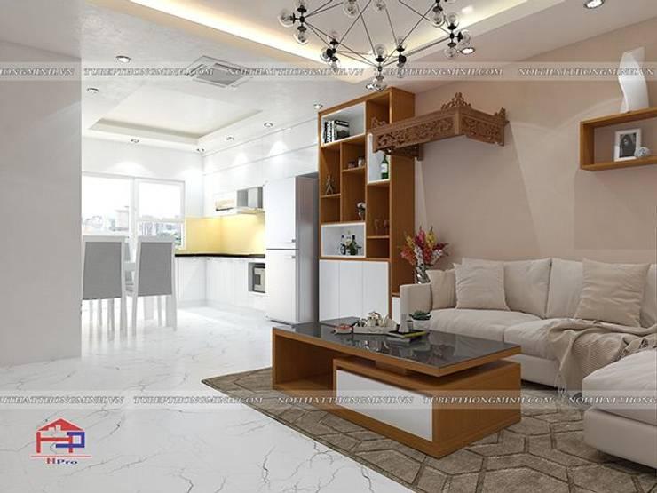 Ảnh thiết kế 3D nội thất phòng khách gỗ công nghiệp An Cường nhà anh Mai ở Việt Trì - view 3:  Living room by Nội thất Hpro