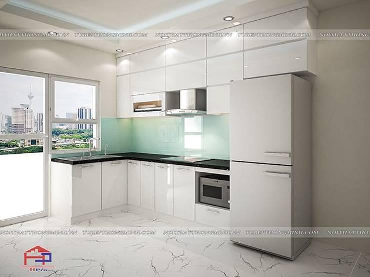 Ảnh thiết kế 3D tủ bếp acrylic chữ L nhà anh Mai ở Việt Trì:  Kitchen by Nội thất Hpro