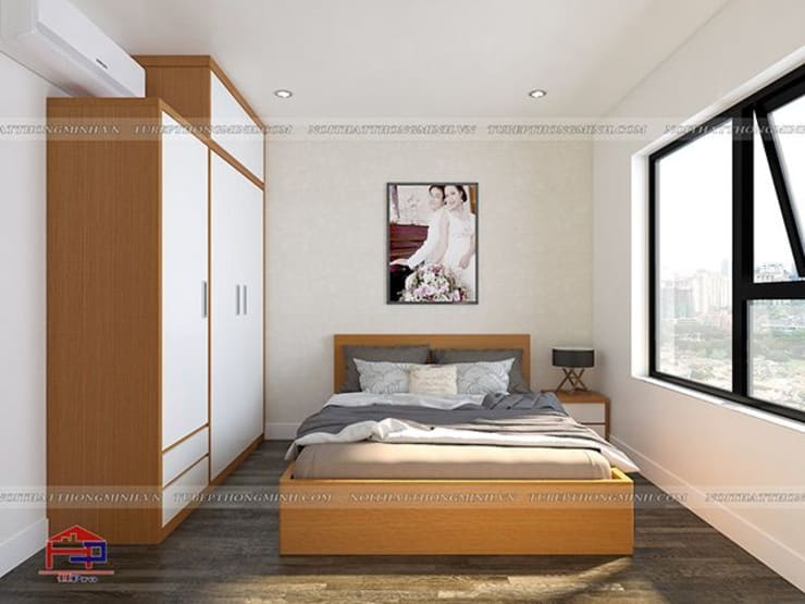 Thiết kế nội thất phòng ngủ master gỗ melamine nhà anh Mai ở Việt Trì:  Bedroom by Nội thất Hpro