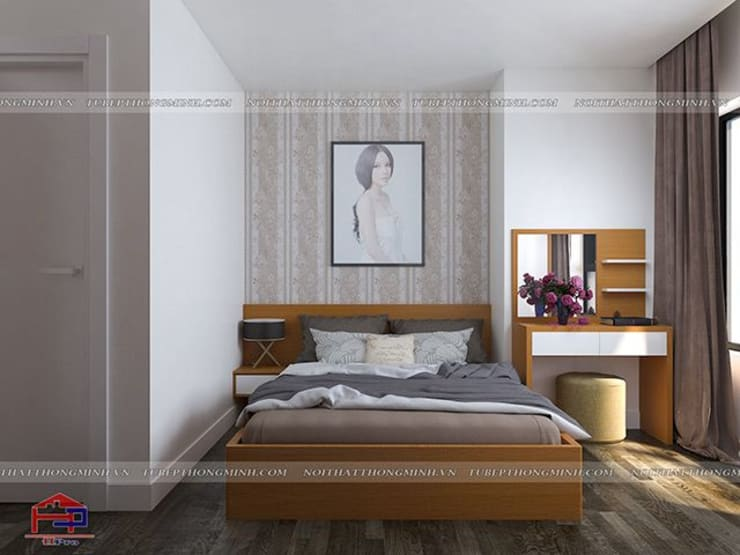 Ảnh thiết kế 3D nội thất phòng ngủ con gái anh Mai ở Việt Trì:  Bedroom by Nội thất Hpro