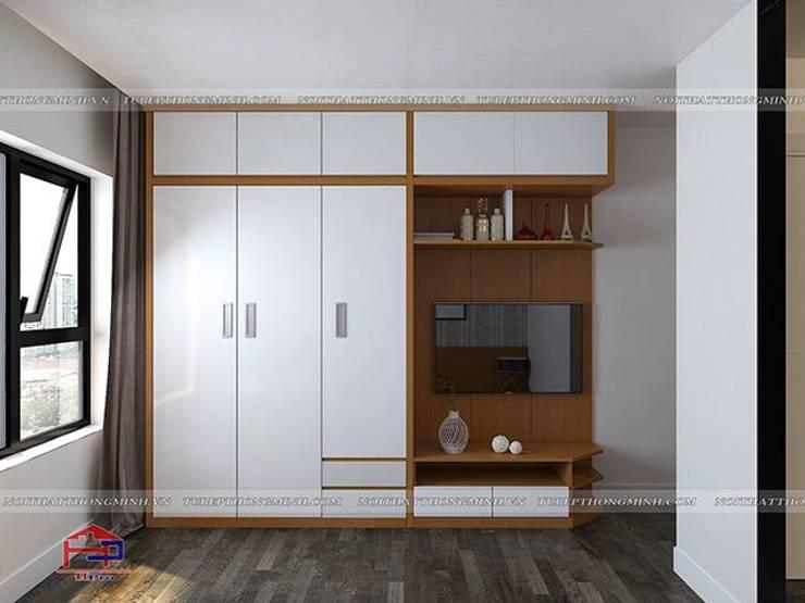 Ảnh thiết kế 3D tủ quần áo đa năng trong phòng ngủ con gái nhà anh Mai ở Việt Trì:  Bedroom by Nội thất Hpro