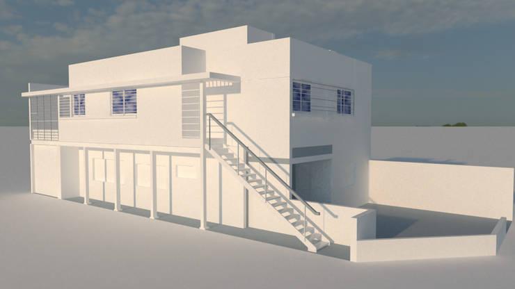 render de estudio. vista general.: Casas unifamiliares de estilo  por Arq. Germán Perez Biello
