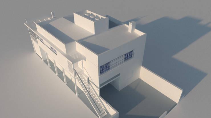 render de estudio, vista general.: Casas unifamiliares de estilo  por Arq. Germán Perez Biello
