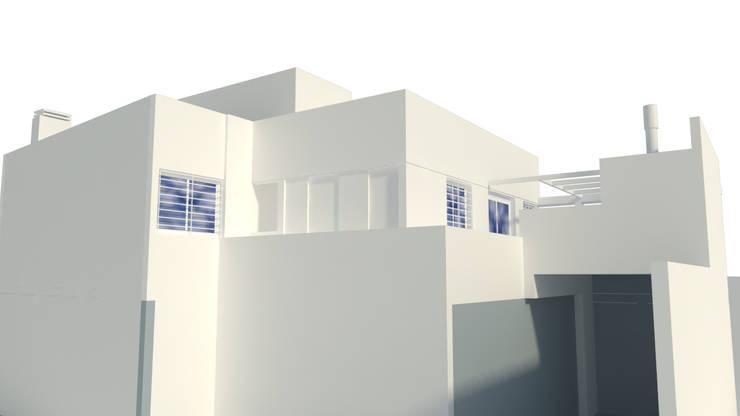 render de estudio exterior, vista desde patio: Casas unifamiliares de estilo  por Arq. Germán Perez Biello
