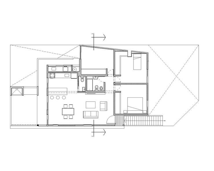 planta general.: Casas unifamiliares de estilo  por Arq. Germán Perez Biello