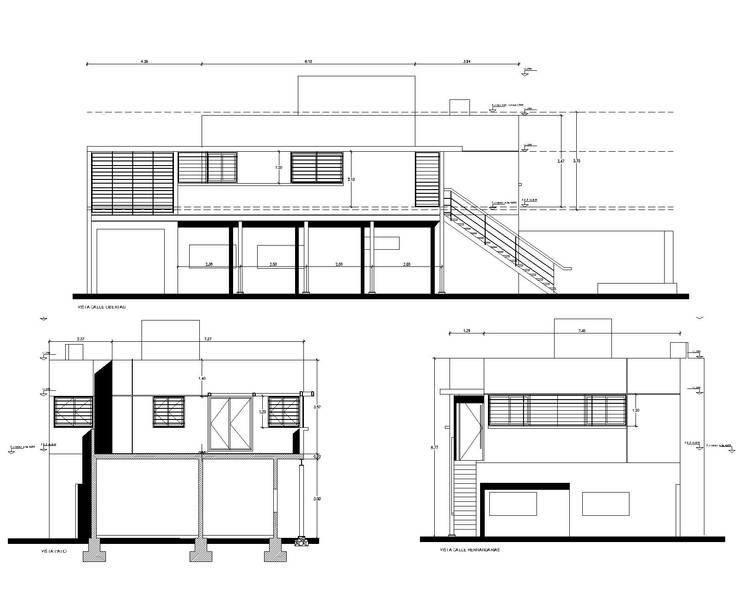 fachadas. proyecto: Casas unifamiliares de estilo  por Arq. Germán Perez Biello