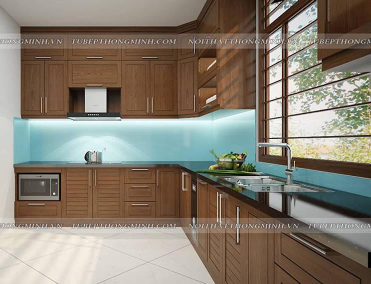 Ảnh thiết kế 3D tủ bếp gỗ sồi mỹ nhà anh Huy ở Mai Dịch - view 3:  Kitchen by Nội thất Hpro