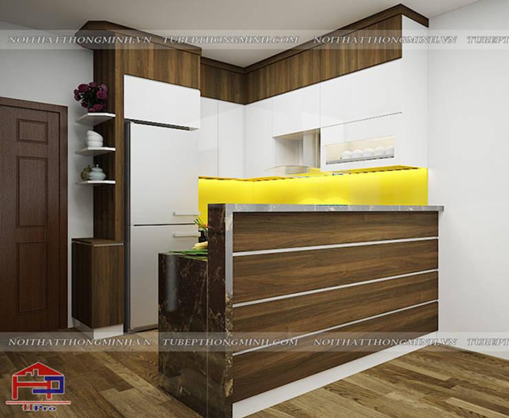 Ảnh thiết kế 3D tủ bếp laminate nhà chú Việt ở Hạ Long:  Kitchen by Nội thất Hpro