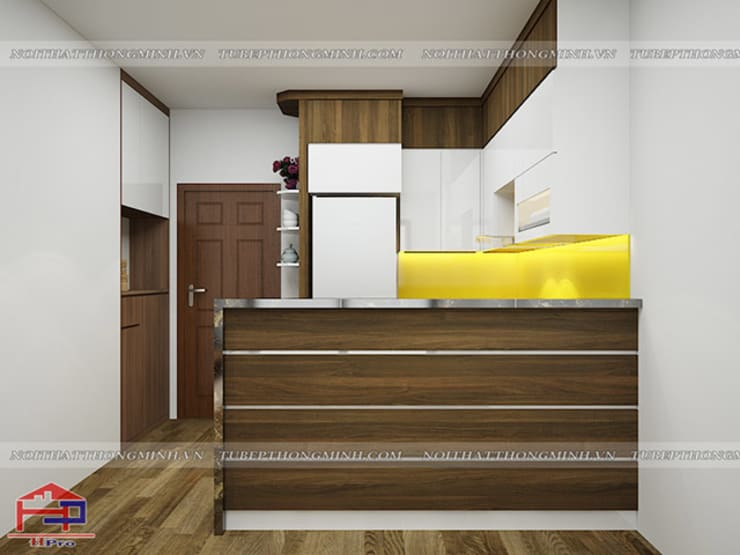 Ảnh thiết kế 3D tủ bếp laminate nhà chú Việt ở Hạ Long - view 2:  Kitchen by Nội thất Hpro