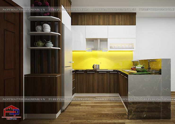 Ảnh thiết kế 3D tủ bếp laminate nhà chú Việt ở Hạ Long - view 3:  Kitchen by Nội thất Hpro