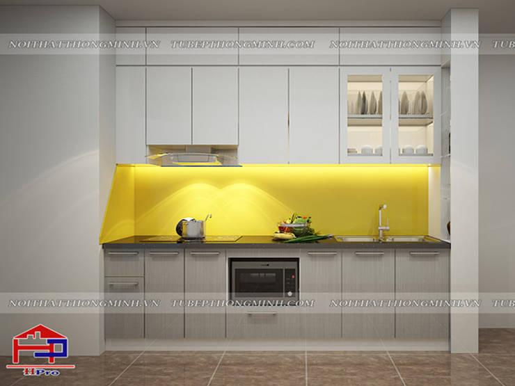 Ảnh thiết kế 3D tủ bếp acrylic kèm vách ngăn nhà anh Điệp ở Athena Xuân Phương:  Kitchen by Nội thất Hpro
