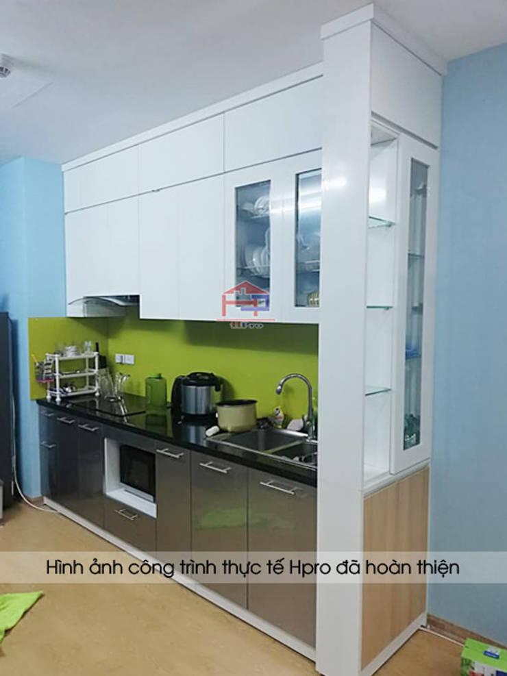 Hoàn thành thi công tủ bếp acrylic kèm vách ngăn nhà anh Điệp:  Kitchen by Nội thất Hpro