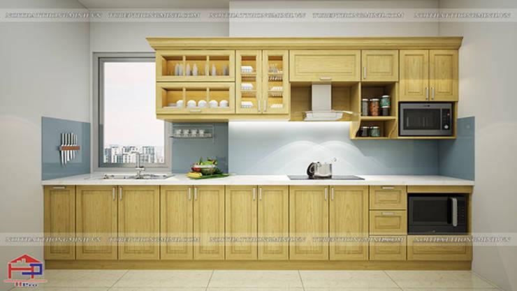 Ảnh thiết kế 3D tủ bếp gỗ sồi nga chữ I nhà anh Phương ở Ngoại Giao Đoàn:  Kitchen by Nội thất Hpro