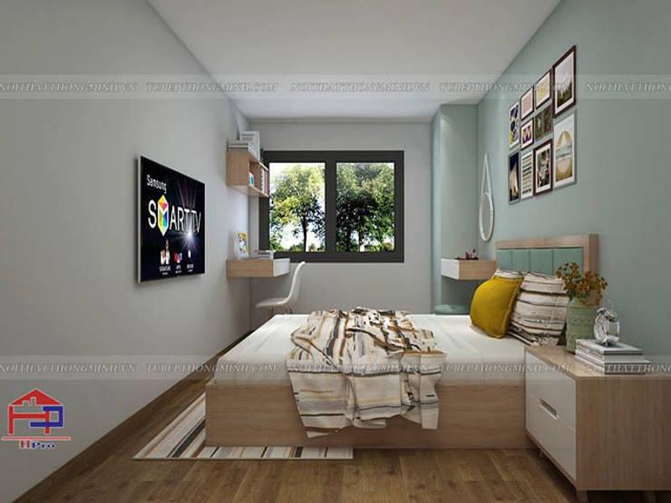 Ảnh thiết kế nội thất phòng ngủ gỗ melamine nhà chị Hiền ở CC Ciputra:  Bedroom by Nội thất Hpro