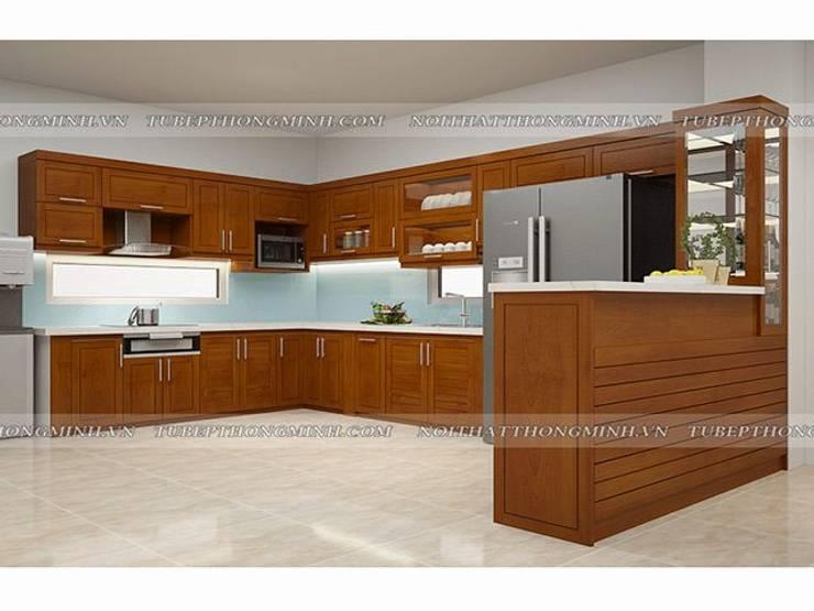 Ảnh thiết kế 3D tủ bếp gỗ xoan đào kèm quầy bar mini nhà anh Cường ở Đông Anh:  Kitchen by Nội thất Hpro