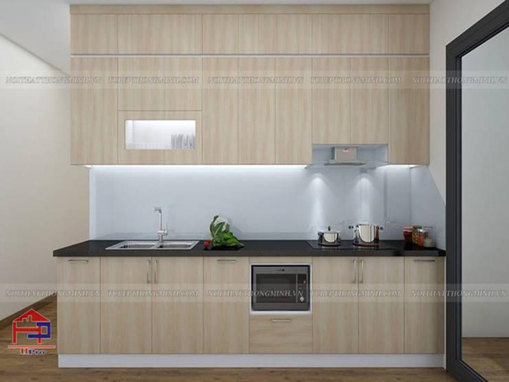 Ảnh thiết kế 3D tủ bếp laminate kịch trần nhà chị Huyền ở Nguyễn Tuân:  Kitchen by Nội thất Hpro