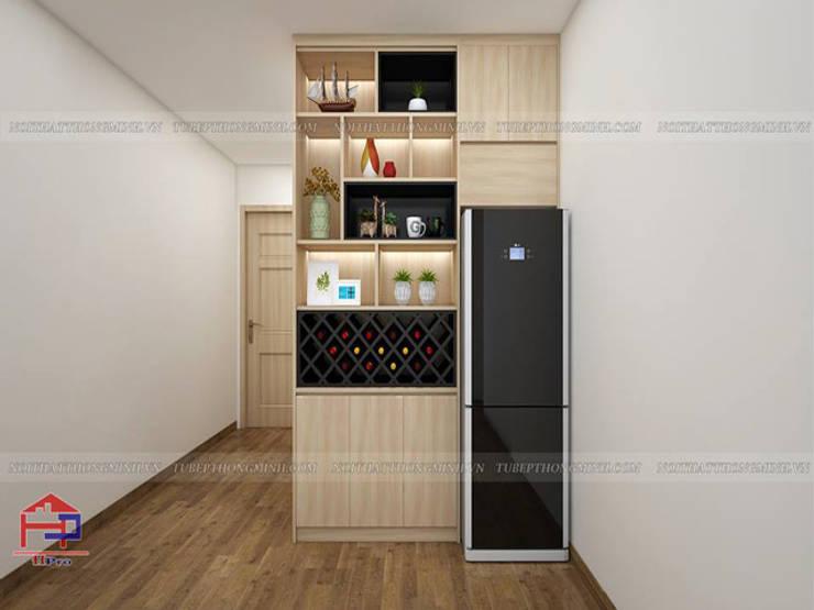 Ảnh thiết kế 3D quầy trang trí phòng bếp laminate nhà chị Huyền ở Nguyễn Tuân:  Kitchen by Nội thất Hpro
