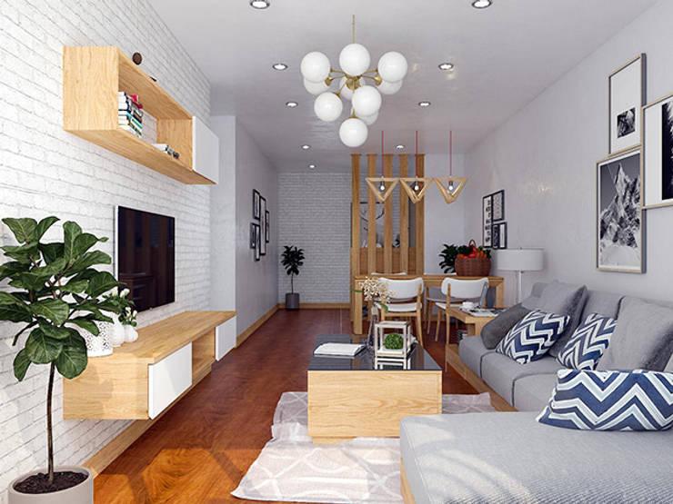 Ảnh thiết kế 3D nội thất gỗ sồi nga phòng khách nhà chị Mai ở CC HD Mon:  Living room by Nội thất Hpro
