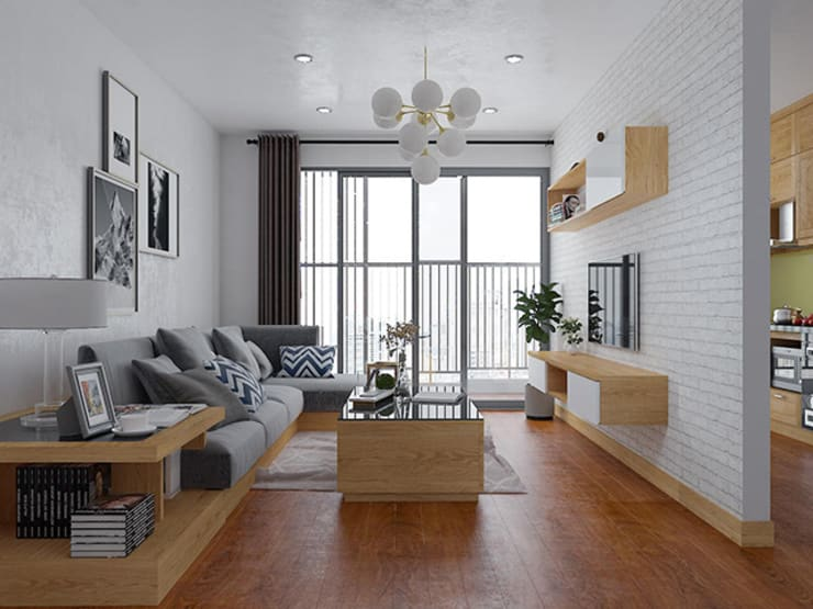 Ảnh thiết kế 3D nội thất phòng khách gỗ sồi nga nhà chị Mai ở CC HD Mon:  Living room by Nội thất Hpro