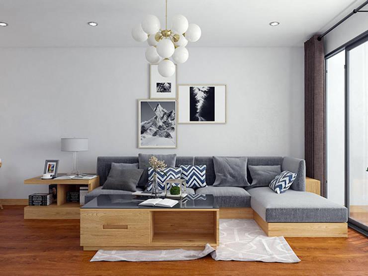 Ảnh thiết kế 3D bộ bàn ghế sofa nhà chị Mai ở CC HD Mon:  Living room by Nội thất Hpro