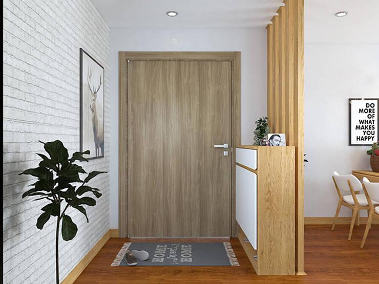 Ảnh thiết kế 3D tủ giày cùng vách ngăn phòng ăn gỗ sồi nga nhà chị Mai ở CC HD Mon:  Living room by Nội thất Hpro