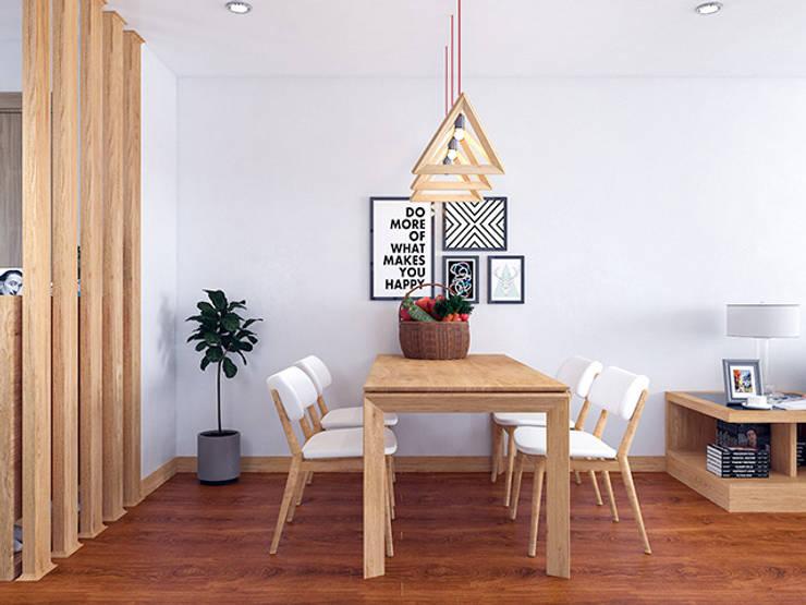 Ảnh thiết kế 3D bộ bàn ăn gỗ sồi Nga nhà chị Mai ở CC HD Mon:  Dining room by Nội thất Hpro
