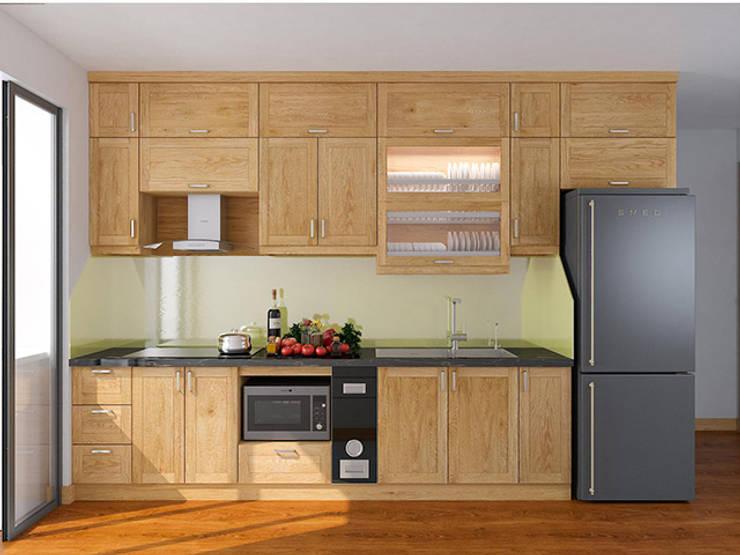 Ảnh thiết kế 3D tủ bếp gỗ sồi nga chữ I nhà chị Mai ở CC HD Mon:  Kitchen by Nội thất Hpro