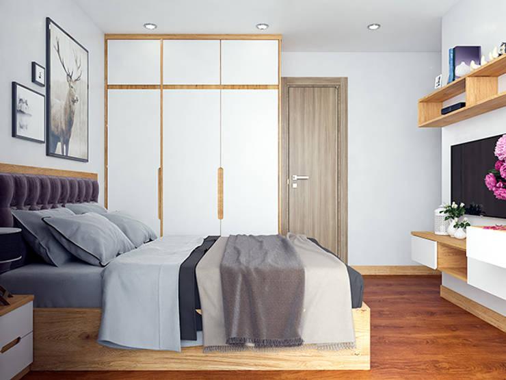 Ảnh thết kế 3D nội thất phòng ngủ master gỗ sồi nga nhà chị Mai ở CC HD Mon:  Bedroom by Nội thất Hpro