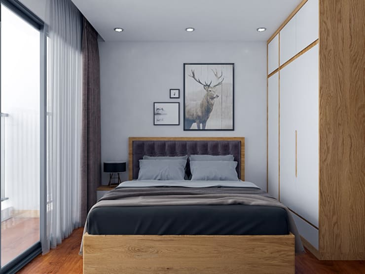 Ảnh thiết kế 3D nội thất phòng ngủ master - view 2:  Bedroom by Nội thất Hpro