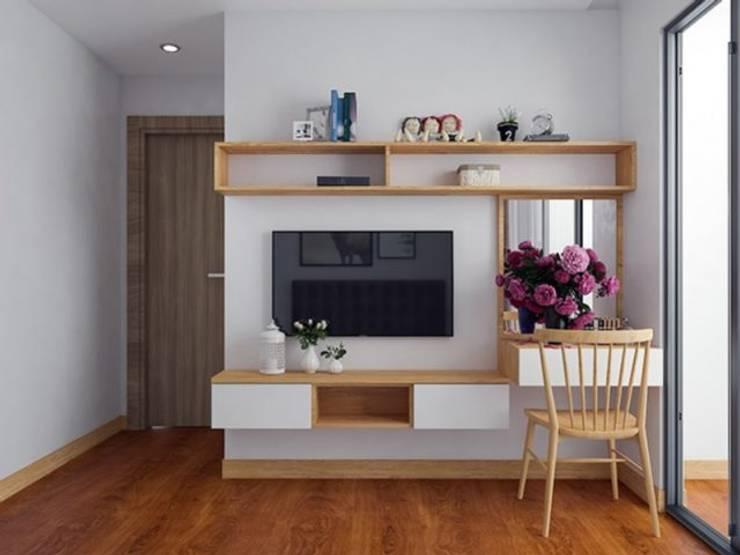 Ảnh thiết kế 3D kệ tivi và bàn phấn phòng ngủ master:  Bedroom by Nội thất Hpro