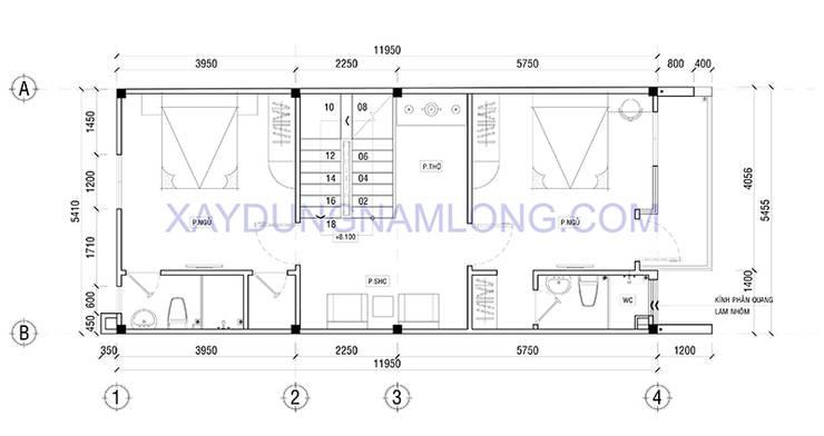 Thiết kế nhà đẹp 4 tầng:  Nhà by Thiết kế nhà đẹp ở Hồ Chí Minh