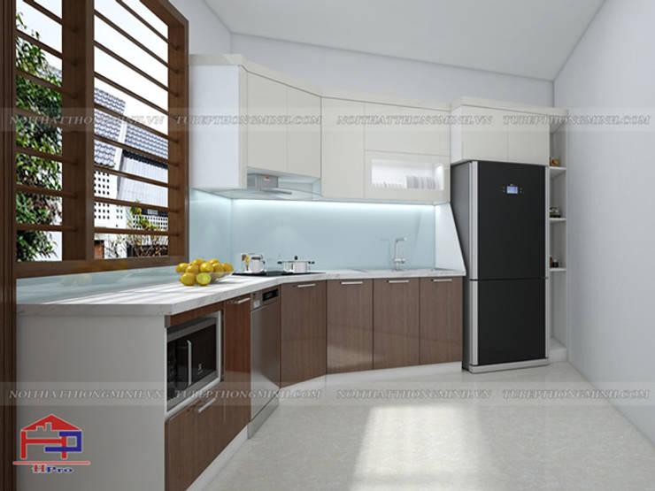 Ảnh thiết kế 3D tủ bếp acrylic chữ L nhà anh Toản ở Lạng Sơn:  Kitchen by Nội thất Hpro